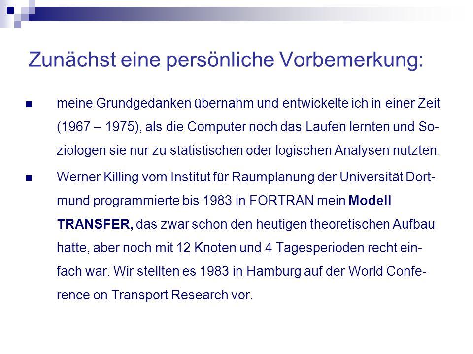 Zunächst eine persönliche Vorbemerkung: meine Grundgedanken übernahm und entwickelte ich in einer Zeit (1967 – 1975), als die Computer noch das Laufen lernten und So- ziologen sie nur zu statistischen oder logischen Analysen nutzten.