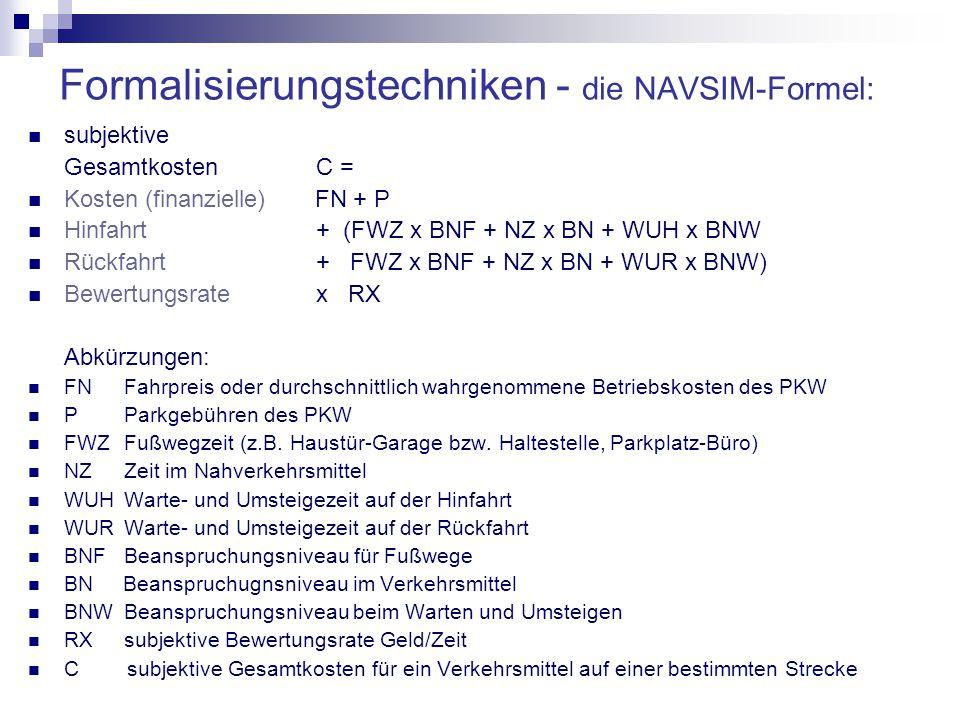Formalisierungstechniken - die NAVSIM-Formel: subjektive Gesamtkosten C = Kosten (finanzielle) FN + P Hinfahrt+ (FWZ x BNF + NZ x BN + WUH x BNW Rückfahrt+ FWZ x BNF + NZ x BN + WUR x BNW) Bewertungsratex RX Abkürzungen: FNFahrpreis oder durchschnittlich wahrgenommene Betriebskosten des PKW P Parkgebühren des PKW FWZFußwegzeit (z.B.