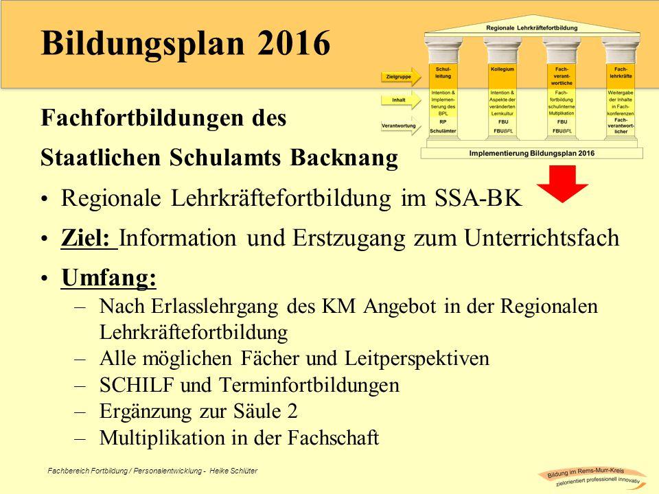 Fachbereich Fortbildung / Personalentwicklung - Heike Schlüter Bildungsplan 2016 Fachfortbildungen des Staatlichen Schulamts Backnang Regionale Lehrkr