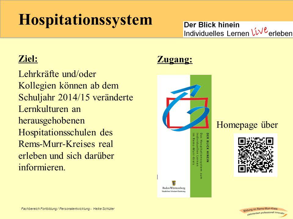 Fachbereich Fortbildung / Personalentwicklung - Heike Schlüter Hospitationssystem Ziel: Lehrkräfte und/oder Kollegien können ab dem Schuljahr 2014/15