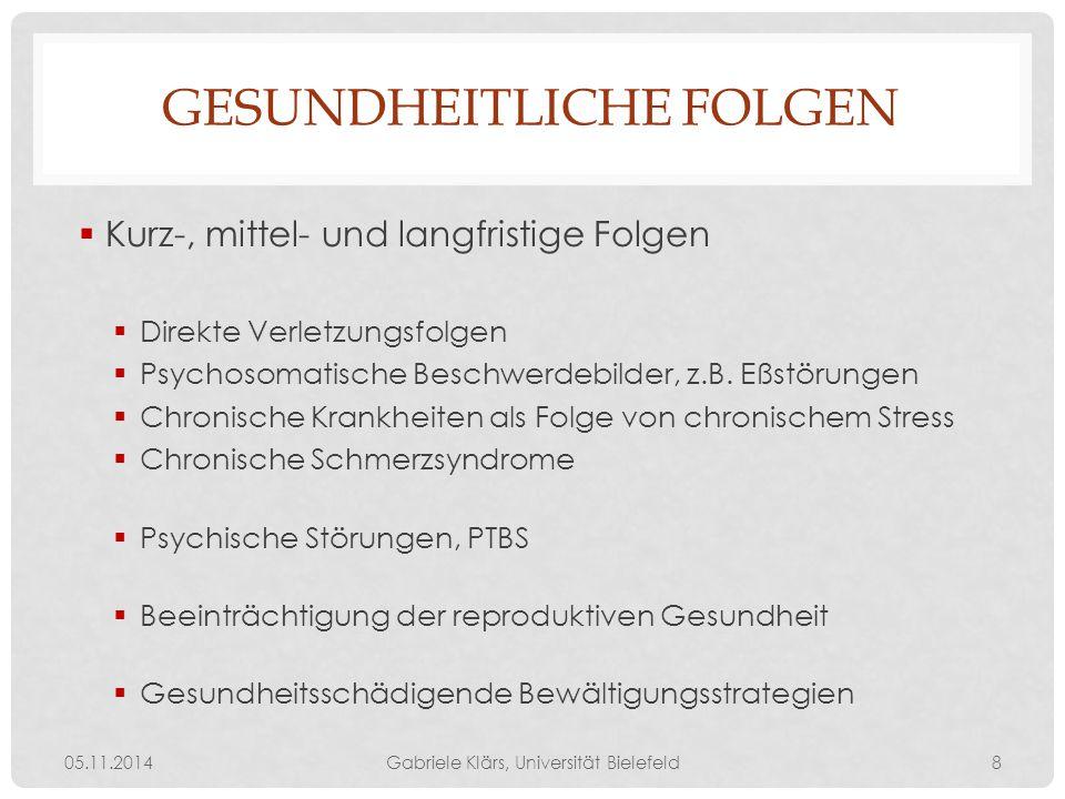 GESUNDHEITLICHE FOLGEN  Kurz-, mittel- und langfristige Folgen  Direkte Verletzungsfolgen  Psychosomatische Beschwerdebilder, z.B. Eßstörungen  Ch