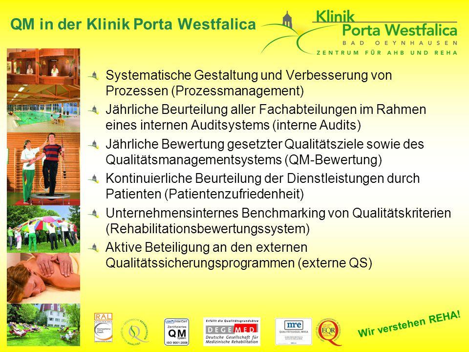 Wir verstehen REHA! QM in der Klinik Porta Westfalica Systematische Gestaltung und Verbesserung von Prozessen (Prozessmanagement) Jährliche Beurteilun