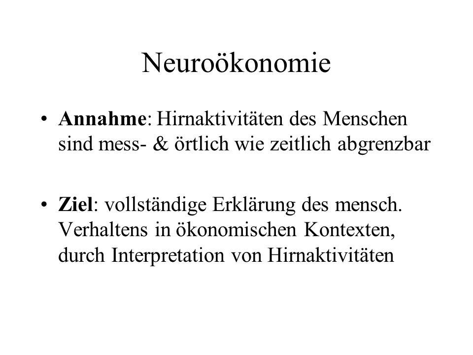 Neuroökonomie Annahme: Hirnaktivitäten des Menschen sind mess- & örtlich wie zeitlich abgrenzbar Ziel: vollständige Erklärung des mensch. Verhaltens i