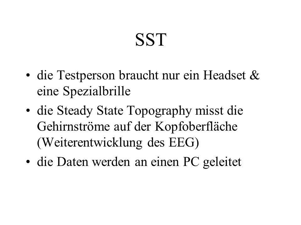 SST die Testperson braucht nur ein Headset & eine Spezialbrille die Steady State Topography misst die Gehirnströme auf der Kopfoberfläche (Weiterentwi