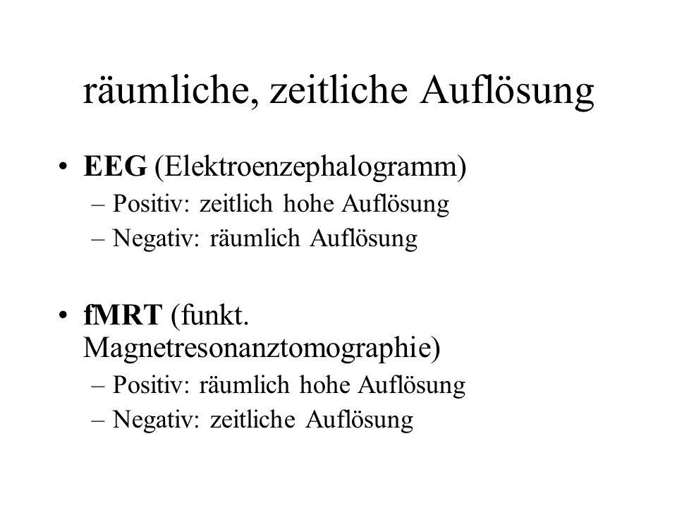 räumliche, zeitliche Auflösung EEG (Elektroenzephalogramm) –Positiv: zeitlich hohe Auflösung –Negativ: räumlich Auflösung fMRT (funkt. Magnetresonanzt