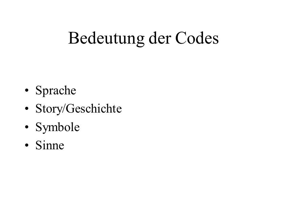 Bedeutung der Codes Sprache Story/Geschichte Symbole Sinne