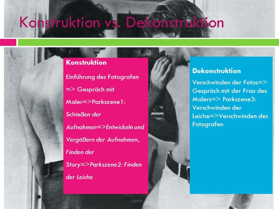 Konstruktion vs. Dekonstruktion Konstruktion Einführung des Fotografen => Gespräch mit Maler=>Parkszene1: Schießen der Aufnahmen=>Entwickeln und Vergö