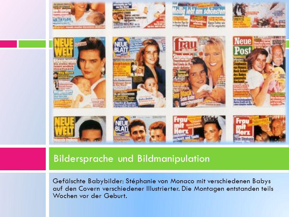 Gefälschte Babybilder: Stéphanie von Monaco mit verschiedenen Babys auf den Covern verschiedener Illustrierter. Die Montagen entstanden teils Wochen v
