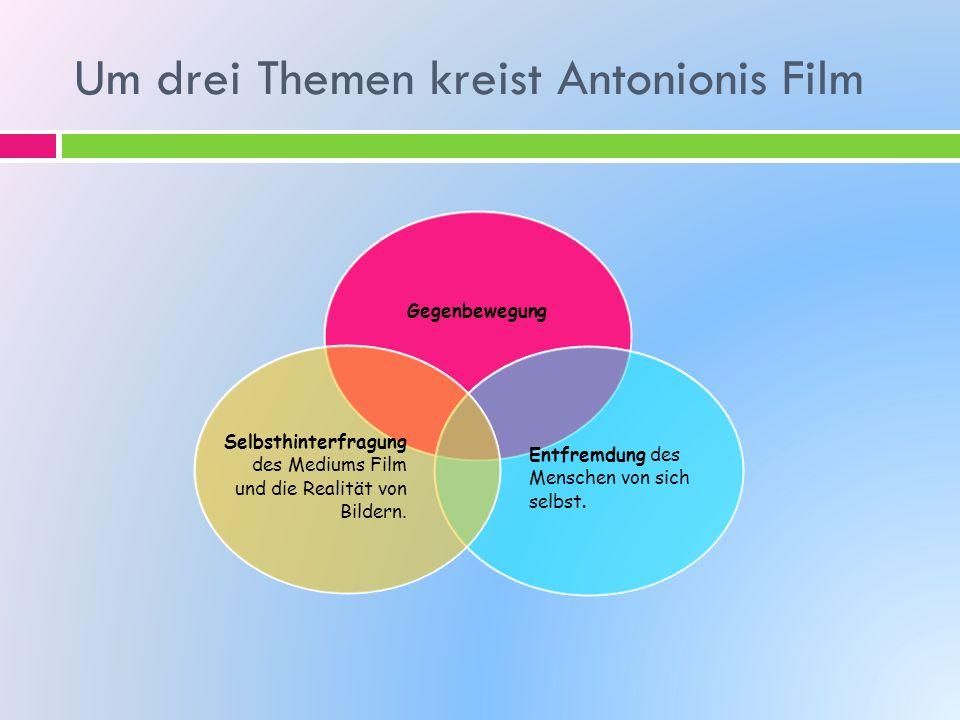 Um drei Themen kreist Antonionis Film Gegenbewegung Entfremdung des Menschen von sich selbst. Selbsthinterfragung des Mediums Film und die Realität vo