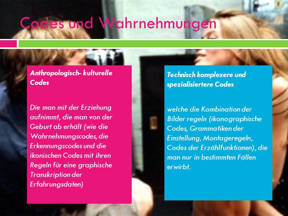 Codes und Wahrnehmungen Anthropologisch- kulturelle Codes Die man mit der Erziehung aufnimmt, die man von der Geburt ab erhält (wie die Wahrnehmungsco