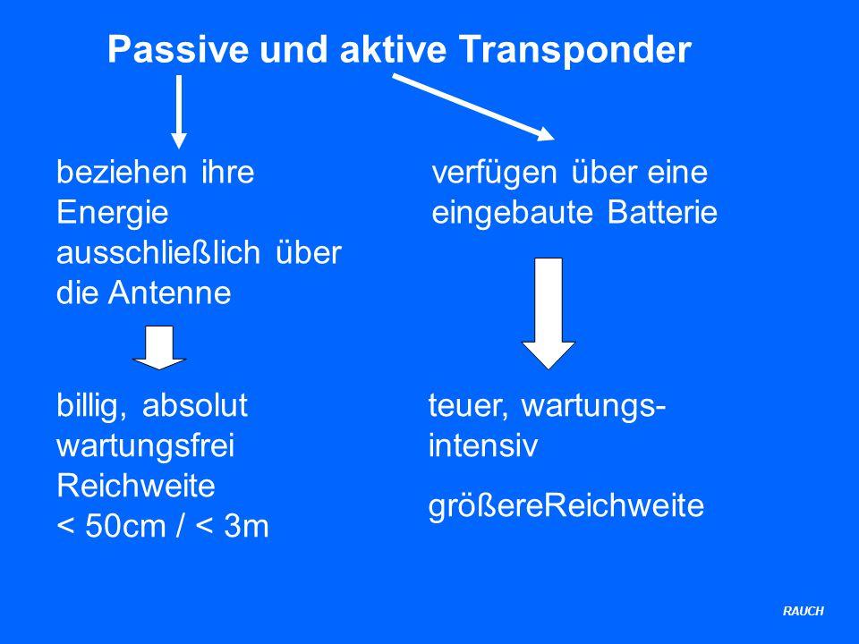 Passive und aktive Transponder beziehen ihre Energie ausschließlich über die Antenne verfügen über eine eingebaute Batterie billig, absolut wartungsfrei Reichweite < 50cm / < 3m teuer, wartungs- intensiv größereReichweite