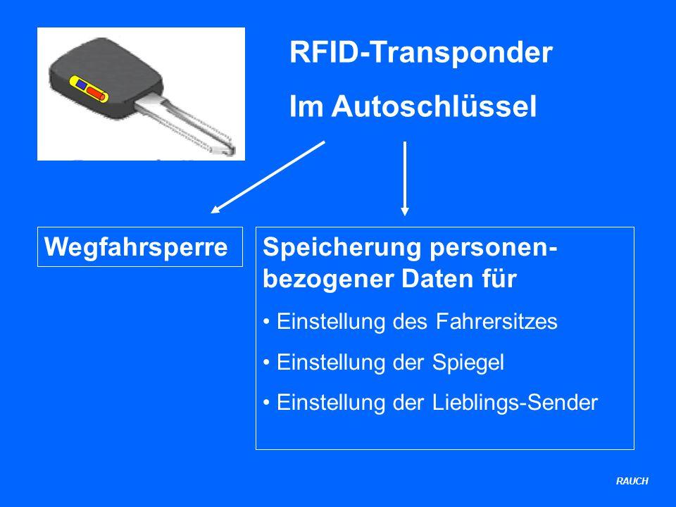 RFID-Transponder Im Autoschlüssel WegfahrsperreSpeicherung personen- bezogener Daten für Einstellung des Fahrersitzes Einstellung der Spiegel Einstellung der Lieblings-Sender