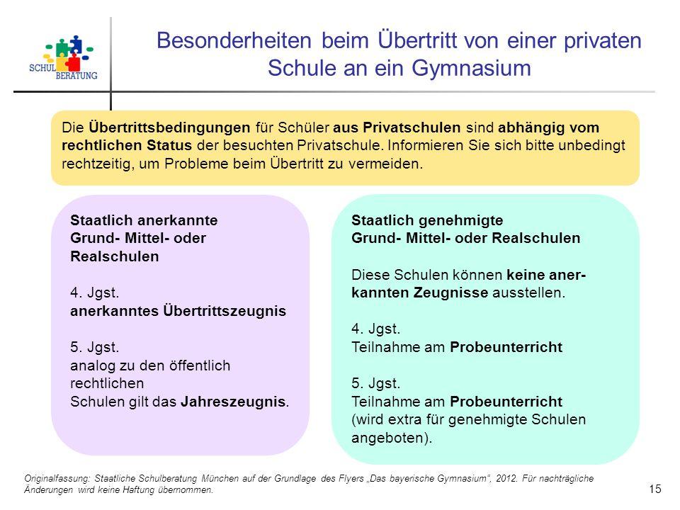 Besonderheiten beim Übertritt von einer privaten Schule an ein Gymnasium Die Übertrittsbedingungen für Schüler aus Privatschulen sind abhängig vom rechtlichen Status der besuchten Privatschule.