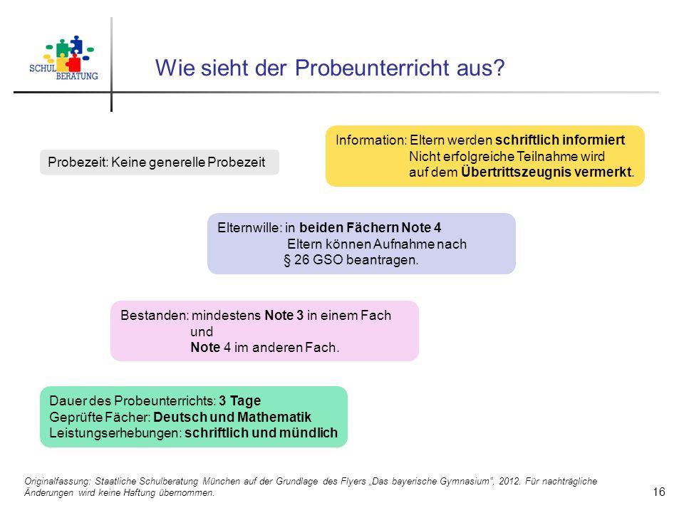 """Wie sieht der Probeunterricht aus? 16 Originalfassung: Staatliche Schulberatung München auf der Grundlage des Flyers """"Das bayerische Gymnasium"""", 2012."""