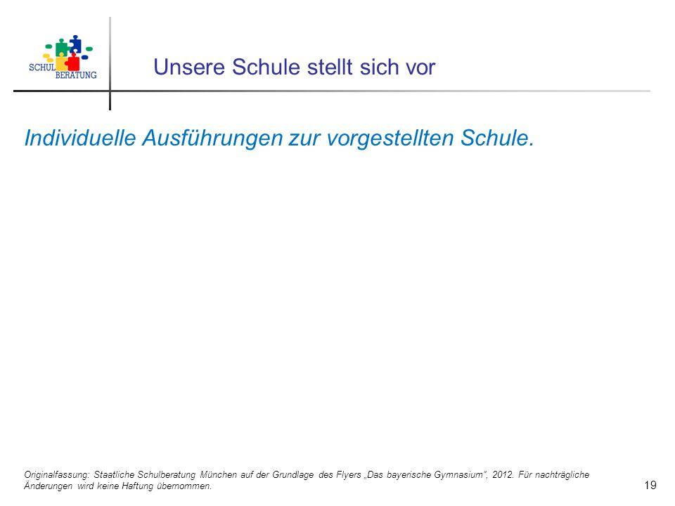 Unsere Schule stellt sich vor Individuelle Ausführungen zur vorgestellten Schule. 19 Originalfassung: Staatliche Schulberatung München auf der Grundla
