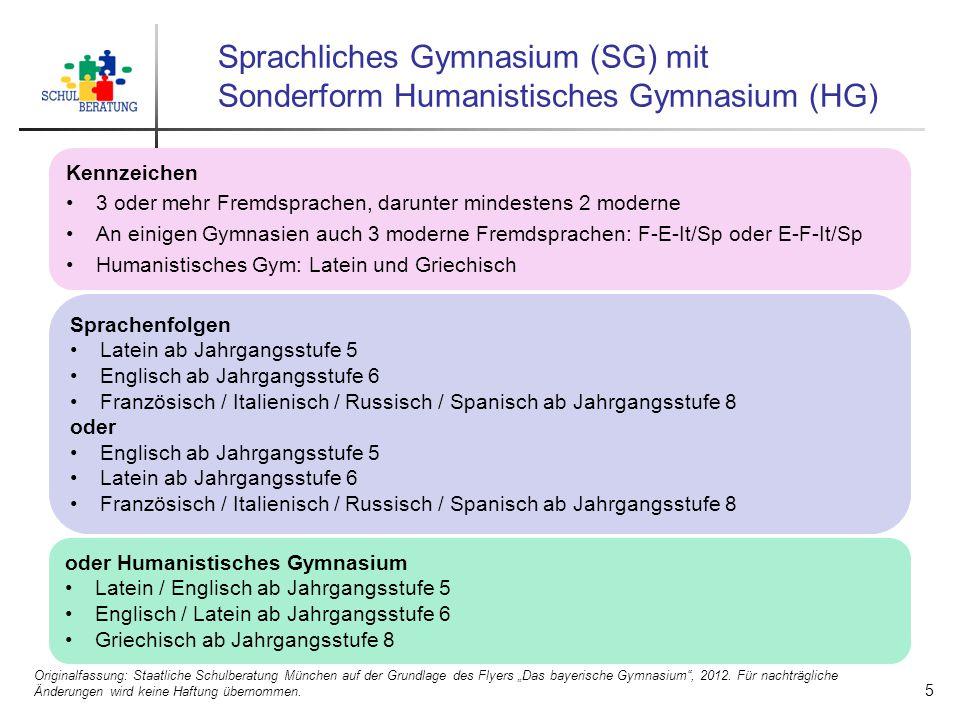 Sprachliches Gymnasium (SG) mit Sonderform Humanistisches Gymnasium (HG) Kennzeichen 3 oder mehr Fremdsprachen, darunter mindestens 2 moderne An einig