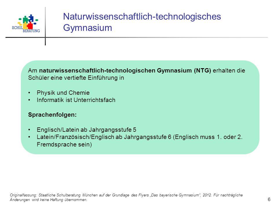 Naturwissenschaftlich-technologisches Gymnasium Am naturwissenschaftlich-technologischen Gymnasium (NTG) erhalten die Schüler eine vertiefte Einführun