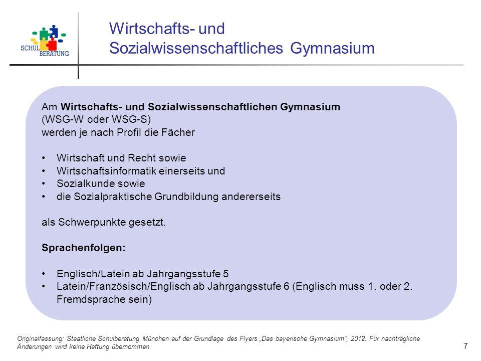 Wirtschafts- und Sozialwissenschaftliches Gymnasium Am Wirtschafts- und Sozialwissenschaftlichen Gymnasium (WSG-W oder WSG-S) werden je nach Profil di