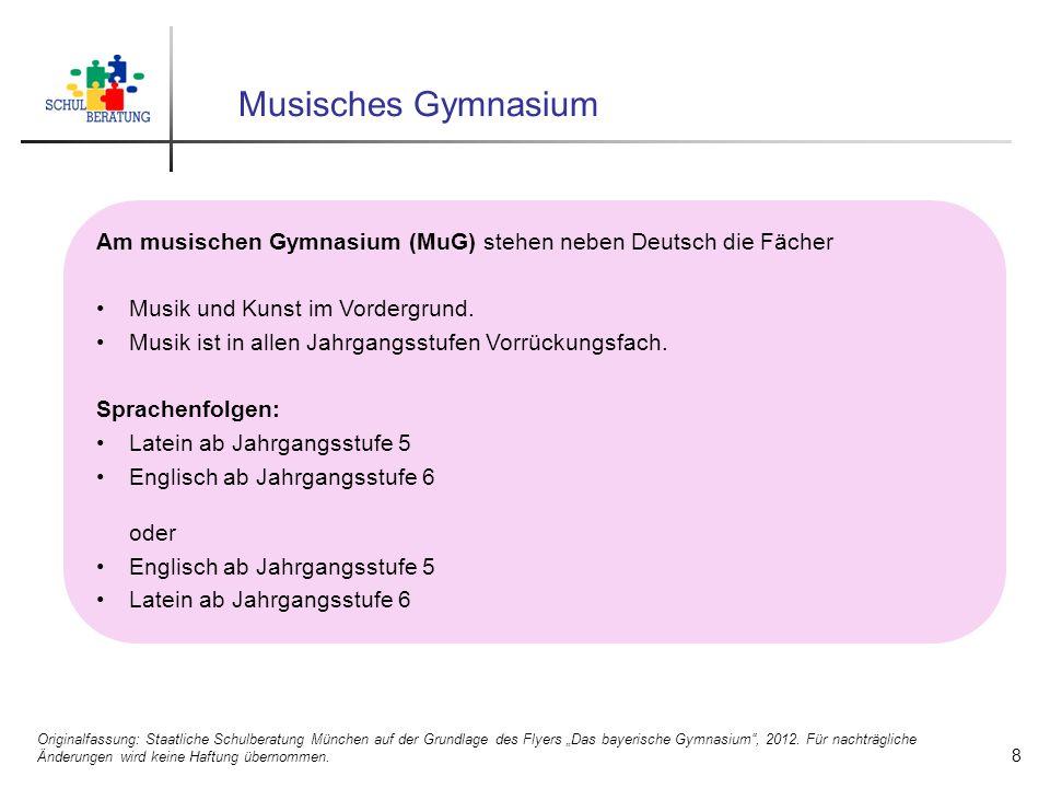 Musisches Gymnasium Am musischen Gymnasium (MuG) stehen neben Deutsch die Fächer Musik und Kunst im Vordergrund. Musik ist in allen Jahrgangsstufen Vo