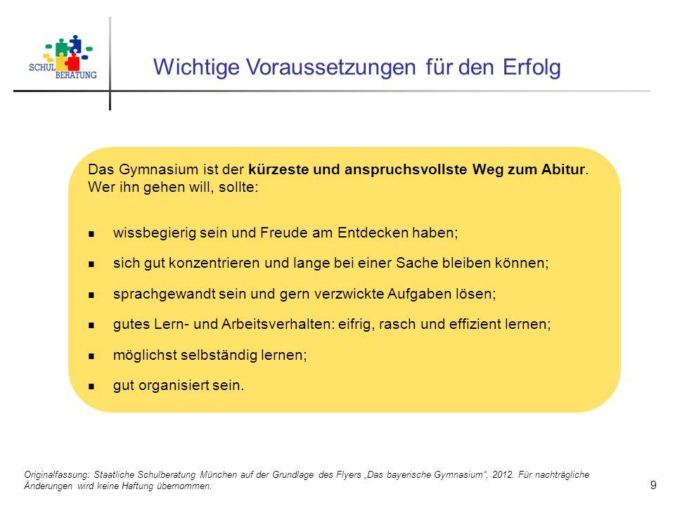 """Abschlüsse am Gymnasium 10 Originalfassung: Staatliche Schulberatung München auf der Grundlage des Flyers """"Das bayerische Gymnasium , 2012."""