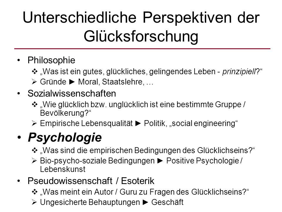 """Unterschiedliche Perspektiven der Glücksforschung Philosophie  """"Was ist ein gutes, glückliches, gelingendes Leben - prinzipiell?  Gründe ► Moral, Staatslehre, … Sozialwissenschaften  """"Wie glücklich bzw."""