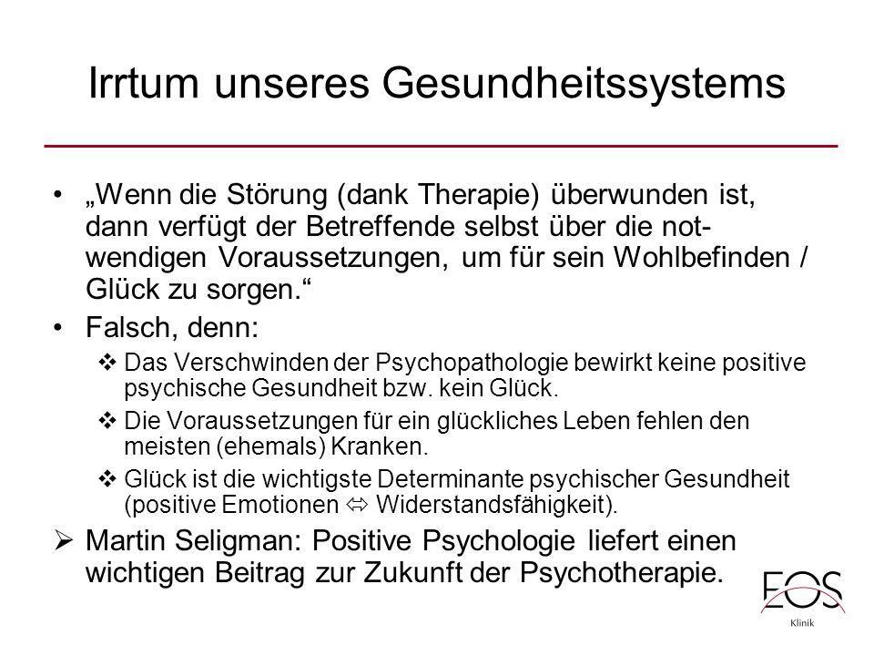 """Irrtum unseres Gesundheitssystems """"Wenn die Störung (dank Therapie) überwunden ist, dann verfügt der Betreffende selbst über die not- wendigen Voraussetzungen, um für sein Wohlbefinden / Glück zu sorgen. Falsch, denn:  Das Verschwinden der Psychopathologie bewirkt keine positive psychische Gesundheit bzw."""