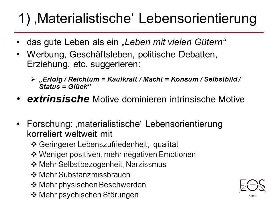 """1) 'Materialistische' Lebensorientierung das gute Leben als ein """"Leben mit vielen Gütern Werbung, Geschäftsleben, politische Debatten, Erziehung, etc."""