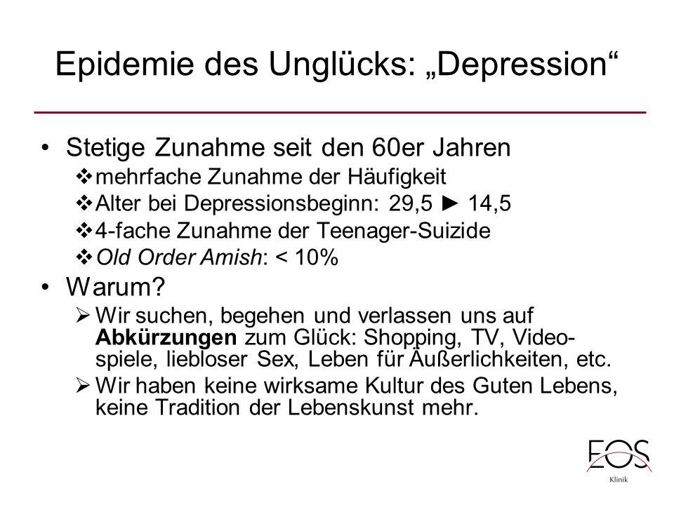 """Epidemie des Unglücks: """"Depression Stetige Zunahme seit den 60er Jahren  mehrfache Zunahme der Häufigkeit  Alter bei Depressionsbeginn: 29,5 ► 14,5  4-fache Zunahme der Teenager-Suizide  Old Order Amish: < 10% Warum."""