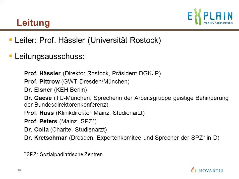 Leitung  Leiter: Prof. Hässler (Universität Rostock)  Leitungsausschuss: Prof. Hässler (Direktor Rostock, Präsident DGKJP) Prof. Pittrow (GWT-Dresde