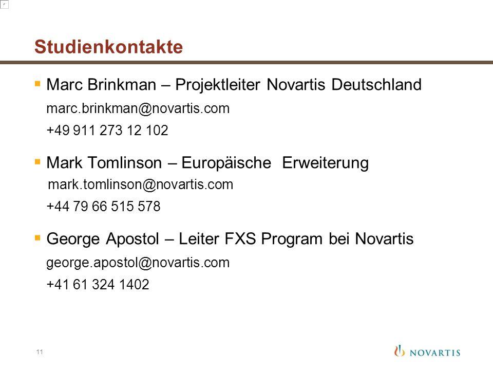 Studienkontakte  Marc Brinkman – Projektleiter Novartis Deutschland marc.brinkman@novartis.com +49 911 273 12 102  Mark Tomlinson – Europäische Erwe
