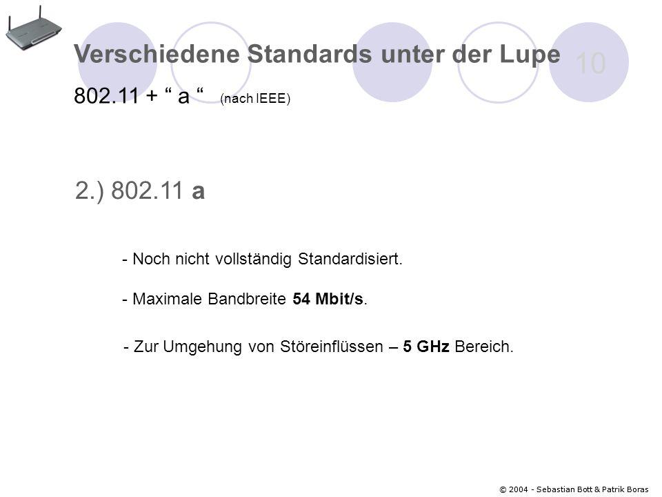 © 2004 - Sebastian Bott & Patrik Boras 10 © 2004 - Sebastian Bott & Patrik Boras Verschiedene Standards unter der Lupe 802.11 + a (nach IEEE) 2.) 802.11 a - Maximale Bandbreite 54 Mbit/s.