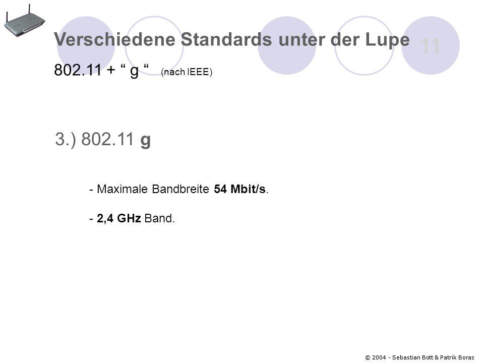 © 2004 - Sebastian Bott & Patrik Boras 11 © 2004 - Sebastian Bott & Patrik Boras Verschiedene Standards unter der Lupe 802.11 + g (nach IEEE) 3.) 802.11 g - 2,4 GHz Band.