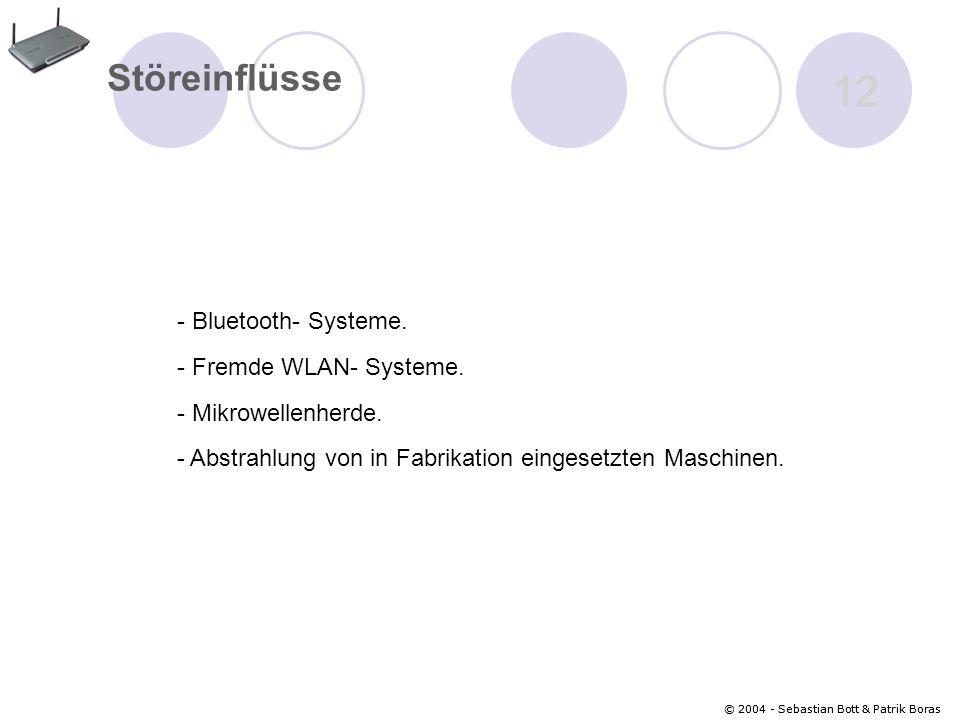 © 2004 - Sebastian Bott & Patrik Boras 12 © 2004 - Sebastian Bott & Patrik Boras 12 Störeinflüsse - Bluetooth- Systeme.
