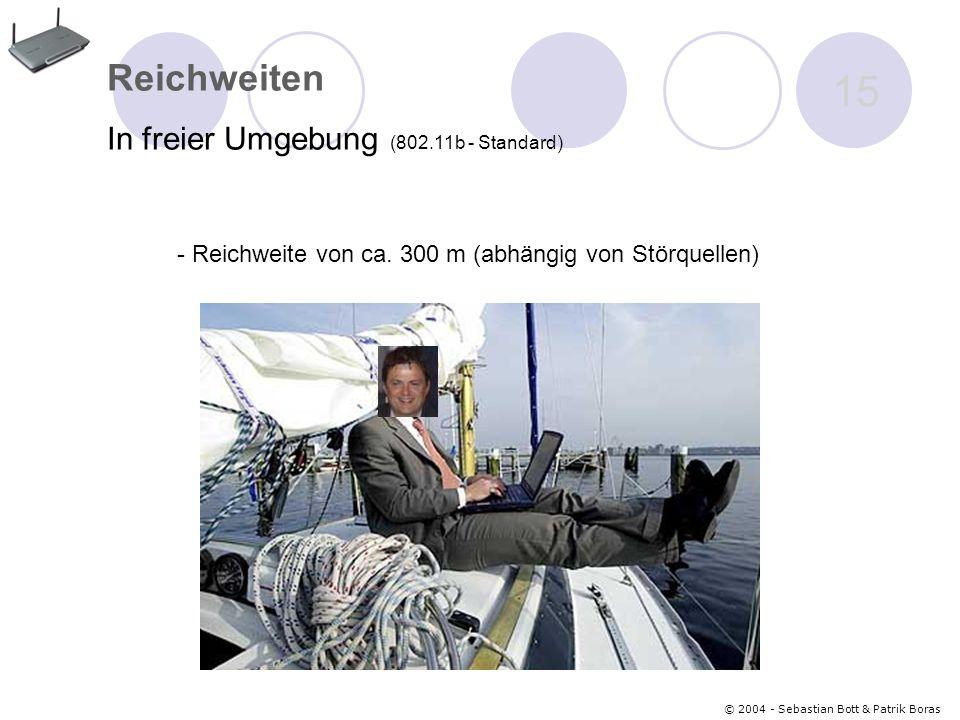 © 2004 - Sebastian Bott & Patrik Boras 15 Reichweiten In freier Umgebung (802.11b - Standard) - Reichweite von ca.