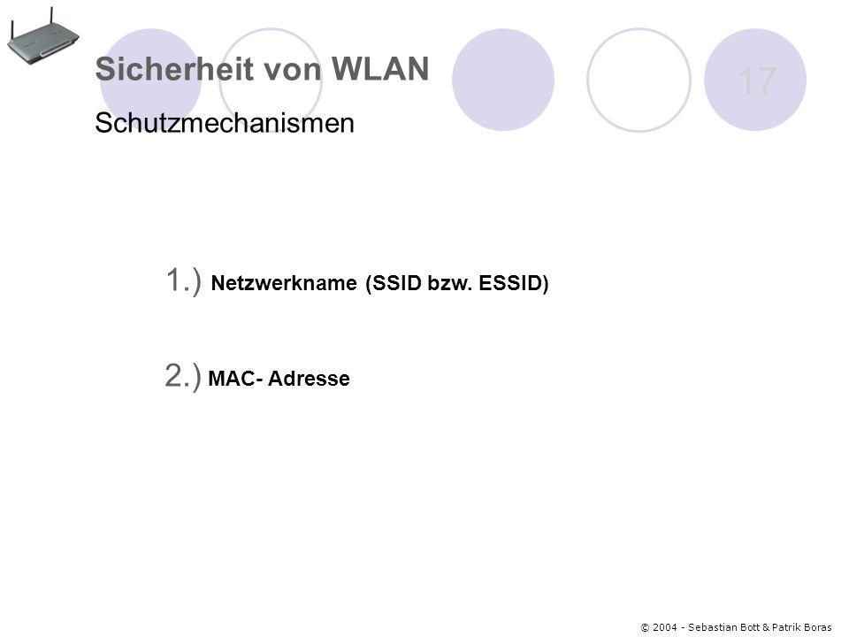 © 2004 - Sebastian Bott & Patrik Boras 17 Sicherheit von WLAN Schutzmechanismen 1.) Netzwerkname (SSID bzw.