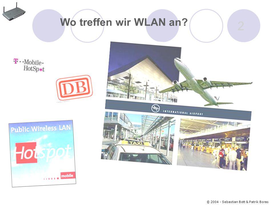© 2004 - Sebastian Bott & Patrik Boras 3 Grundlagen der WLAN- Technologie Die wichtigsten Komponenten sind: 1.) Access Point (AP)