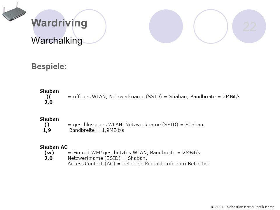 © 2004 - Sebastian Bott & Patrik Boras 22 Wardriving Warchalking Bespiele: Shaban )( = offenes WLAN, Netzwerkname (SSID) = Shaban, Bandbreite = 2MBit/s 2,0 Shaban () = geschlossenes WLAN, Netzwerkname (SSID) = Shaban, 1,9 Bandbreite = 1,9MBit/s Shaban AC (w) = Ein mit WEP geschütztes WLAN, Bandbreite = 2MBit/s 2,0 Netzwerkname (SSID) = Shaban, Access Contact (AC) = beliebige Kontakt-Info zum Betreiber