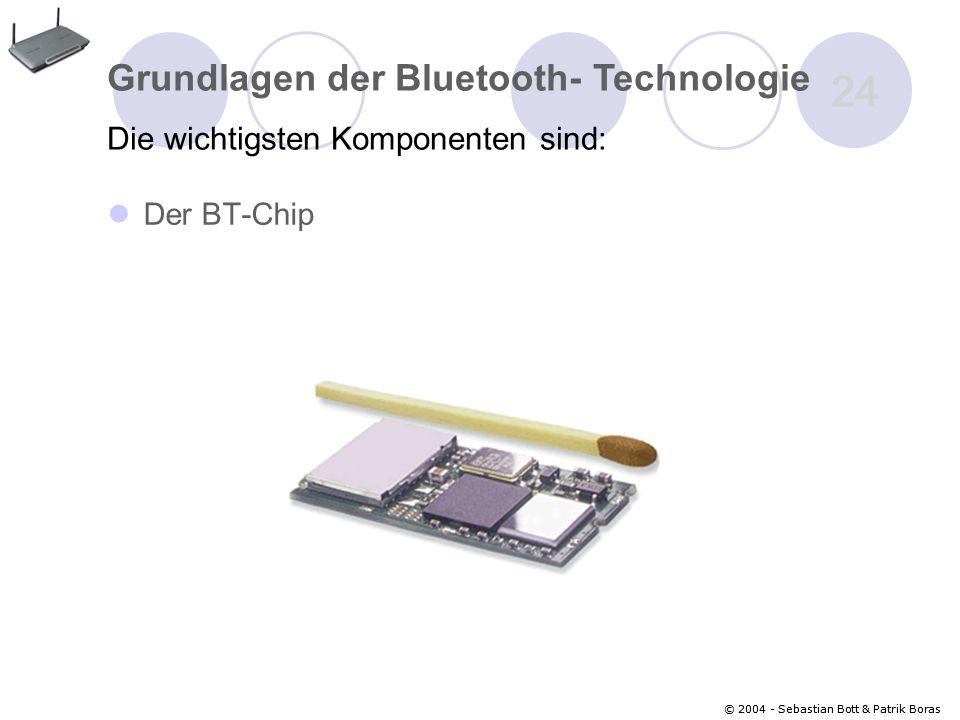© 2004 - Sebastian Bott & Patrik Boras 24 © 2004 - Sebastian Bott & Patrik Boras 24 Der BT-Chip Grundlagen der Bluetooth- Technologie Die wichtigsten Komponenten sind: