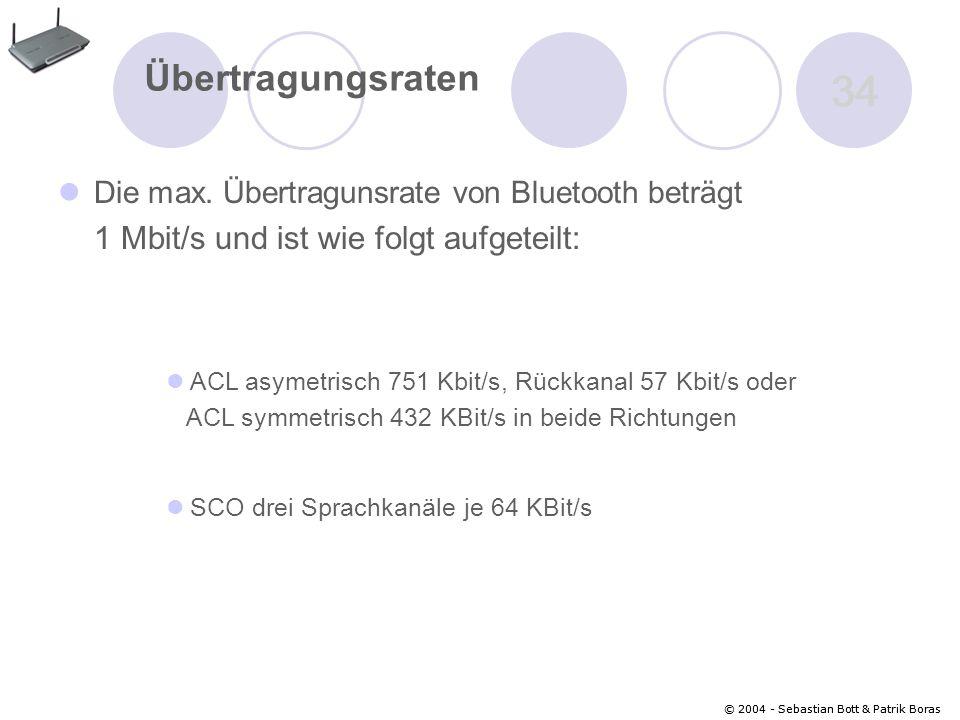 © 2004 - Sebastian Bott & Patrik Boras 34 © 2004 - Sebastian Bott & Patrik Boras 34 Übertragungsraten Die max.
