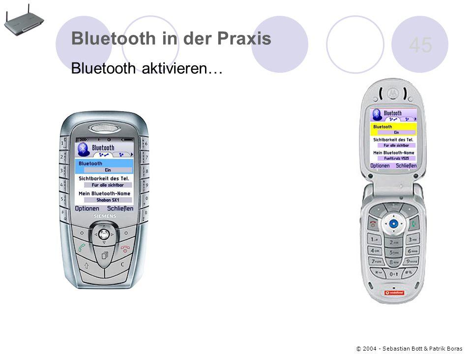 © 2004 - Sebastian Bott & Patrik Boras 45 Bluetooth in der Praxis Bluetooth aktivieren…