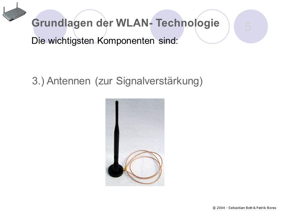 © 2004 - Sebastian Bott & Patrik Boras 5 3.) Antennen (zur Signalverstärkung) Grundlagen der WLAN- Technologie Die wichtigsten Komponenten sind: