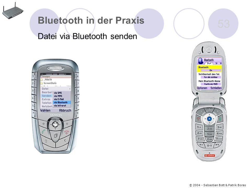 © 2004 - Sebastian Bott & Patrik Boras 53 Bluetooth in der Praxis Datei via Bluetooth senden