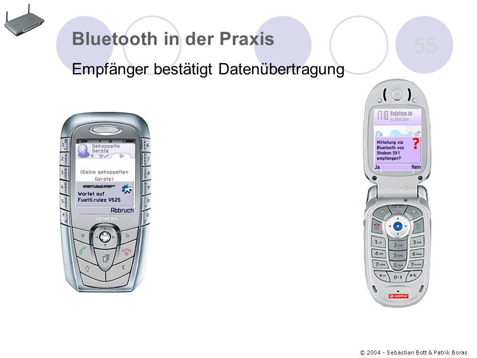© 2004 - Sebastian Bott & Patrik Boras 55 Bluetooth in der Praxis Empfänger bestätigt Datenübertragung