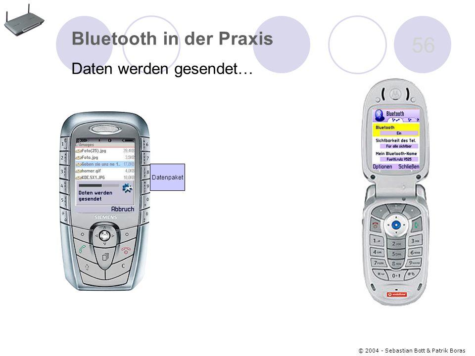 © 2004 - Sebastian Bott & Patrik Boras 56 Bluetooth in der Praxis Daten werden gesendet… Datenpaket