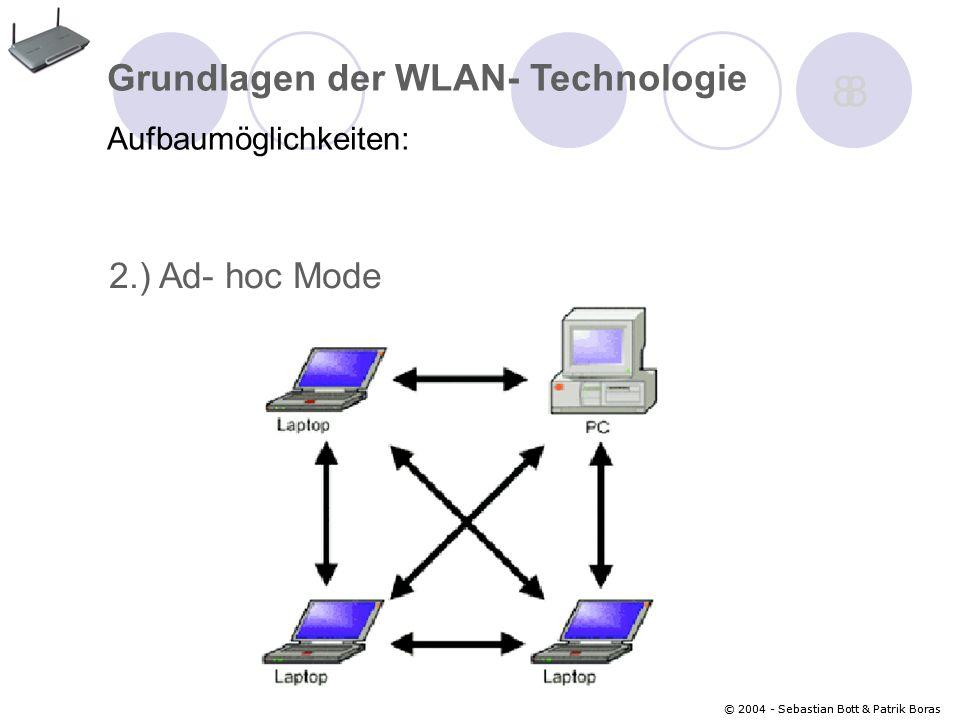 © 2004 - Sebastian Bott & Patrik Boras 8 8 Grundlagen der WLAN- Technologie Aufbaumöglichkeiten: 2.) Ad- hoc Mode