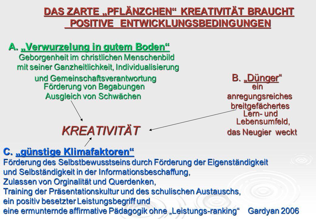 """DAS ZARTE """"PFLÄNZCHEN"""" KREATIVITÄT BRAUCHT DAS ZARTE """"PFLÄNZCHEN"""" KREATIVITÄT BRAUCHT POSITIVE ENTWICKLUNGSBEDINGUNGEN POSITIVE ENTWICKLUNGSBEDINGUNGE"""