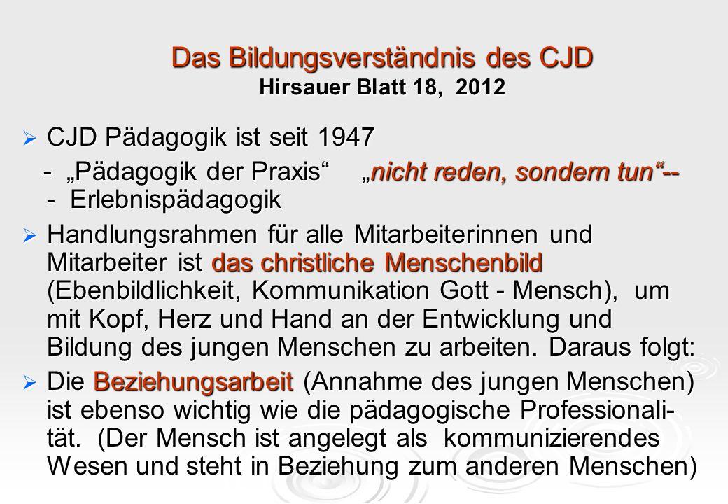 """Das Bildungsverständnis des CJD Hirsauer Blatt 18, 2012  CJD Pädagogik ist seit 1947 - """"Pädagogik der Praxis"""" """"nicht reden, sondern tun""""-- - Erlebnis"""