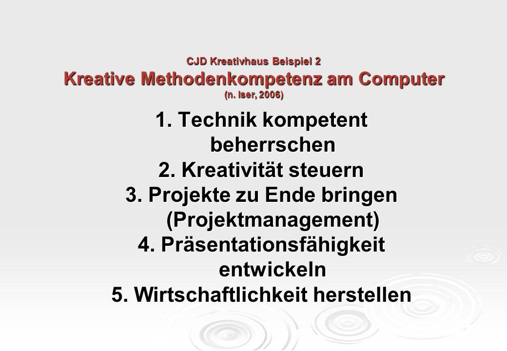 CJD Kreativhaus Beispiel 2 Kreative Methodenkompetenz am Computer (n. Iser, 2006) 1. Technik kompetent beherrschen beherrschen 2. Kreativität steuern