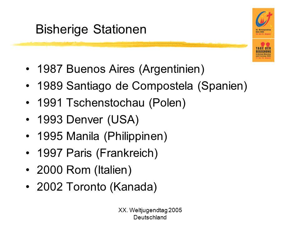 XX. Weltjugendtag 2005 Deutschland Bisherige Stationen 1987 Buenos Aires (Argentinien) 1989 Santiago de Compostela (Spanien) 1991 Tschenstochau (Polen