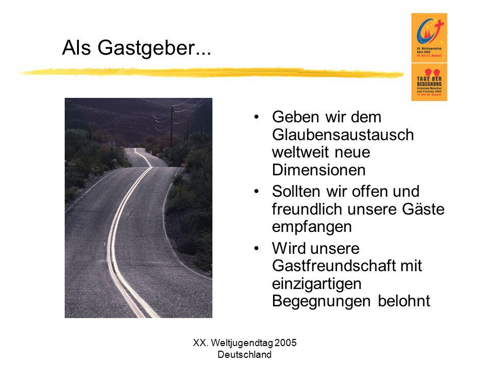 XX. Weltjugendtag 2005 Deutschland Als Gastgeber... Geben wir dem Glaubensaustausch weltweit neue Dimensionen Sollten wir offen und freundlich unsere
